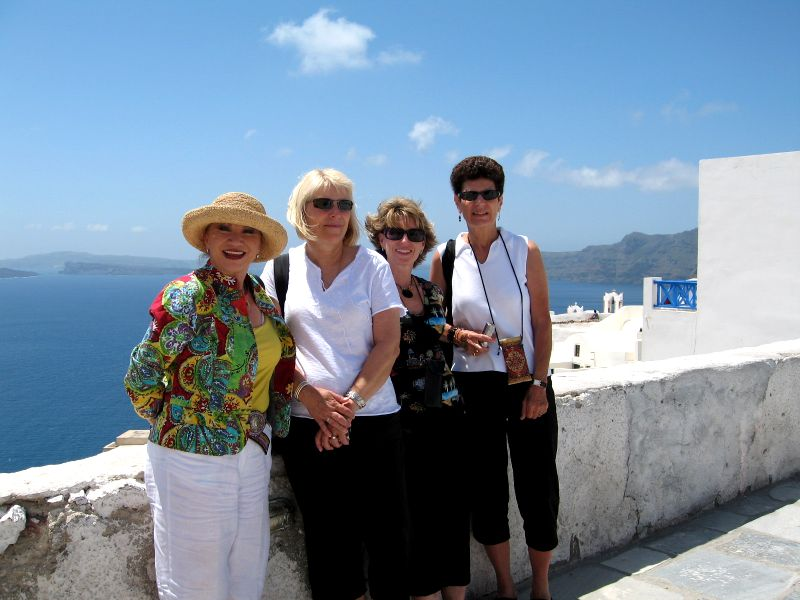 Anita, Sharon B, Sharon O, and Linda in Santorini Greece.2532