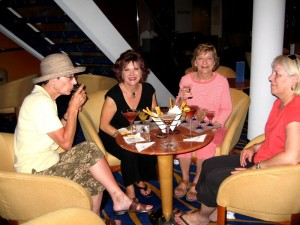 Linda, Anita, Debi, and Sharon enjoy ship Martini Tasting. 2377